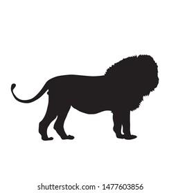 silhouette animals vector concept. lion silhouette design.