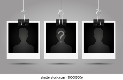 Silhouette of anonymous man with question mark on blank photo - suspect concept