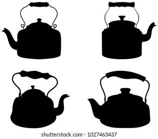 Silhouette antique kettle vector set