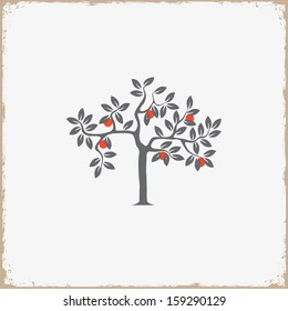 Silhouette of apple-tree on grunge background. Vector EPS10