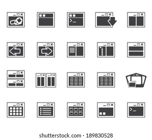 Silhouette Application, Programming, Server and computer icons- vector Icon Set 2