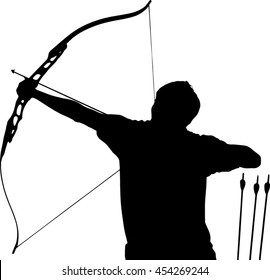 A silhouette of an archer is at full draw and aims high to the sky as a concept of a goal in one's life or determination, resolution and strength both physically and mentally in vector format