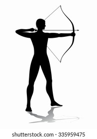 silhouette archer shooting, black and white illustration, white background