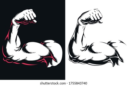 Silhouette arm bicep muscle flexing bodybuilding gym fitness pose close up vector icon logo isolated illustration on white background