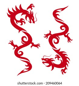Silhouette of Asian Dragon