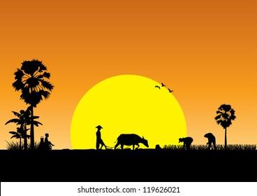 Silhouette of Asian farmer harrowing rice field, Vector