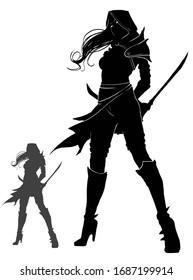 the silhouette of an assassin girl with blades behind her back, she stands proudly looking forward, dressed in a hood, her hair fluttering in the wind. 2d illustration.