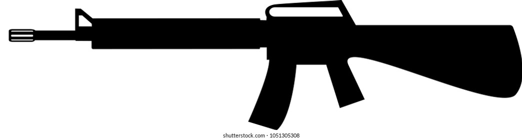 Silhouette of assault rifle. Vector illustration with white / transparent background.