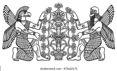 The silhouette of the Assyrian deities collects fruits from a fantastic tree. Character of Sumerian mythology. Linear drawing, the black silhouette isolated on a white background. Vector illustration.