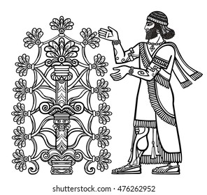 The silhouette of  Assyrian deity collects fruits from a fantastic tree. Character of Sumerian mythology.Linear drawing isolated on a white background. Vector illustration, be used for coloring book.