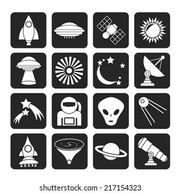 Silhouette astronautics, space and universe icons - vector icon set