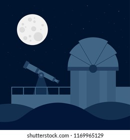 Silhouette of the astronomical observatory with full moon and night sky