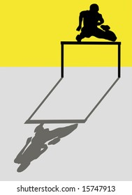 Silhouette of an athlete jumping a hurdle