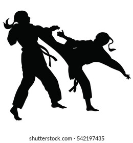 Silhouette of athletes involved in martial arts sparring- vector
