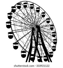 Silhouette attraction colorful ferris wheel. Vector illustration.