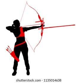 Silhouette attractive female archer bending a bow and aiming in the target