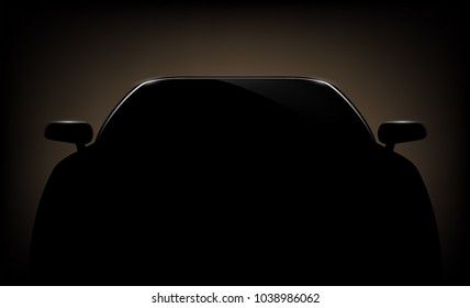 Silhouette of a automotive car on a dark background. Stock vector illustration.