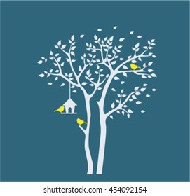 Silhouette autumn tree with birds