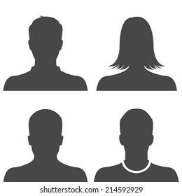 Silhouette avatar profile picture icon set