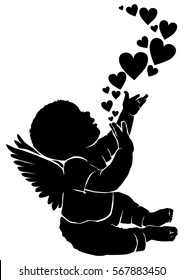 Silhouette baby angel with flying heart