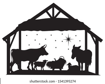 Silhouette of baby Jesus in a manger with animals and angels. Christian Christmas silhouette.Life of little Jesus. Illustrations for children.