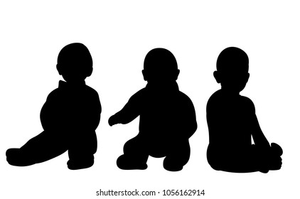silhouette baby sitting, group