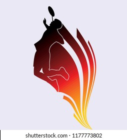 silhouette badminton illustration