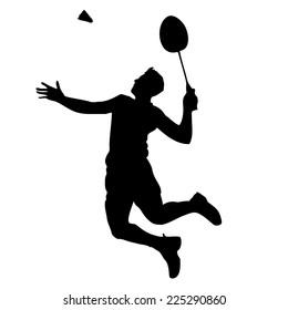 Silhouette of a badminton player