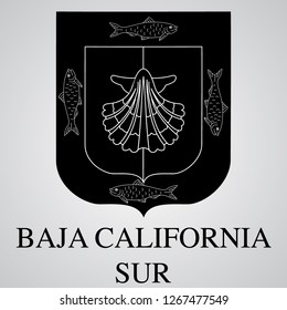 Silhouette of Baja California Sur Coat of Arms. Mexican State. Vector illustration