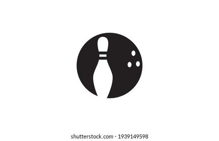 silhouette ball bowling with pin bowling logo vector symbol icon design illustration