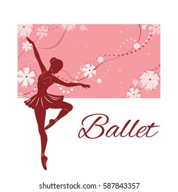 Silhouette of the ballerina against the pink background of beautiful patterns. Vector illustration