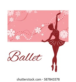 Silhouette of the ballerina against the pink background of beautiful patterns and flowers. Vector illustration