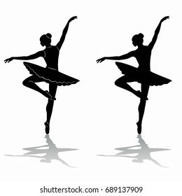 silhouette of ballerina , black and white drawing, white background