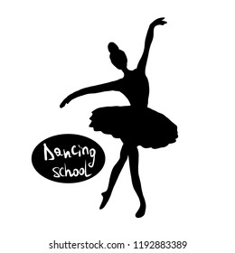 Silhouette of a ballerina, dance school logo.