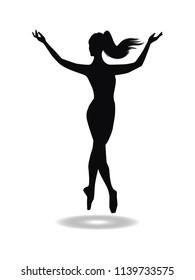 Silhouette of ballerina - isolated on white background - vector art. Sports logo