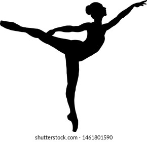 Silhouette of a ballerina maintaining the Arabesque ballet posture. Vector illustration.