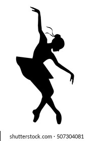 Silhouette of the ballerina on a white background , vector. Ballet, dance.Reverence/