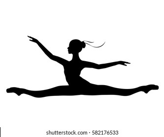 Silhouette of the ballerina on a white background, vector. Ballet, dance.