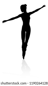 Silhouette of a ballet dancer dancing in a pose or position