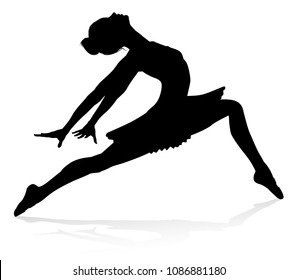 Silhouette ballet dancer woman dancing in pose or position