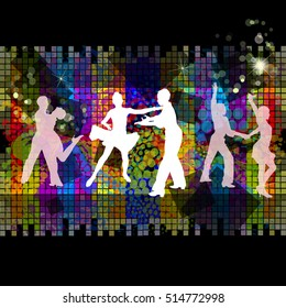 Silhouette of ballroom dancing. abstract background. Vector