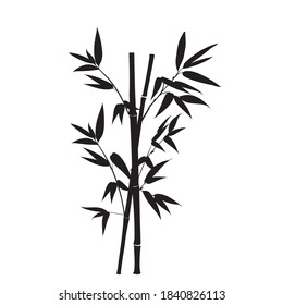 Silhouette bamboo leaves on white background