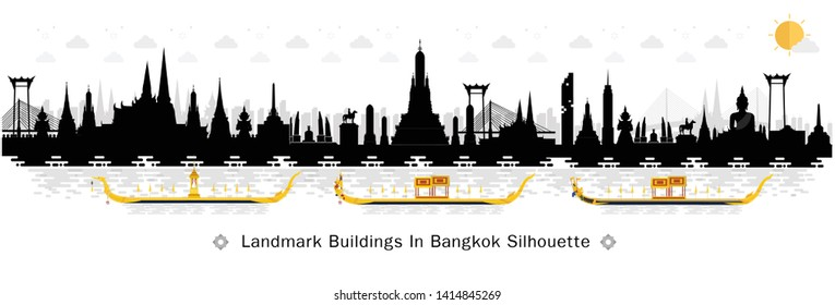 Silhouette to Bangkok in Thailand and Landmarks and travel place. Vector illustration