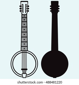 Silhouette of Banjo, Musical string instrument. Isolated on blue background. Vector silhouettes