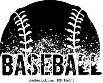 silhouette of a baseball with dirt splatter and a grunge typeface of the word baseball