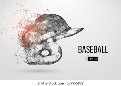 Silhouette of a baseball helmet . Dots, lines, triangles, text, color effects and background on a separate layers, color can be changed in one click. Vector illustration