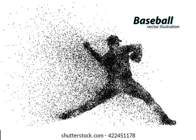 silhouette of a baseball player from particle. Text on a separate layer, color can be changed in one click
