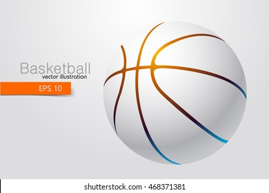 Silhouette of a basketball. Background and text on a separate layer, color can be changed in one click