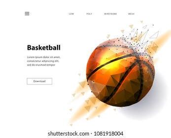 Silhouette of a basketball ball. Dots, lines, triangles, text, color effects and background on a separate layers, color can be changed in one click. Low poly wireframe mesh Vector illustration