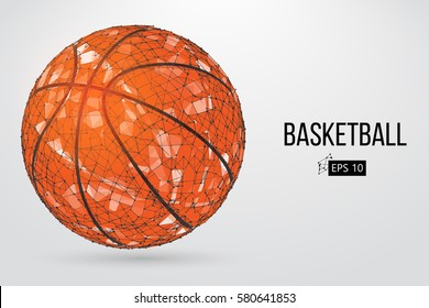 Silhouette of a basketball ball. Dots, lines, triangles, text, color effects and background on a separate layers, color can be changed in one click. Vector illustration